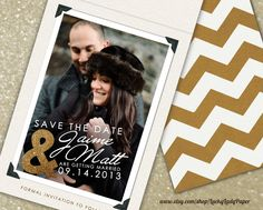 Glitter Modern Shimmer & Shine Save the Date Photo Magnet and Chevron Card wedding set by Luckyladypaper.  Awesome and beautiful photography on this magnet courtesy of Michelle Lange Photography michellelange.com