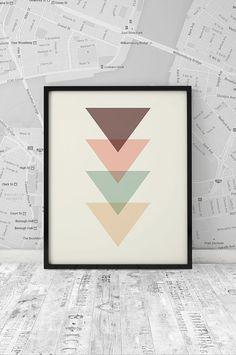 Wall Art, Minimalist Print, Abstract Poster, Geometric Print, Triangle Art, Home…