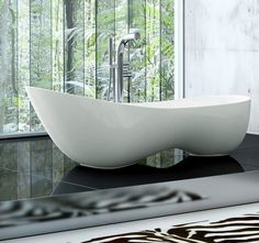Victoria + Albert Cabrits Bath - Unusual double waste sculpted bath, for those who like to lounge in the bath with extra comfort whilst providing a stylish addition to your bathroom