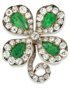 A late Victorian emerald and diamond four-leaf clover brooch A late Victorian…
