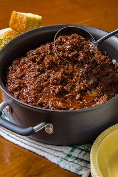This is a classic recipe from Robb Walsh, a Texas food historian and a restaurateur: no beans In the Texas spirit, it does, however, call for three pounds of meat — boneless chuck, buffalo or venison There is also some bacon for good measure
