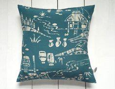 Blue and white vintage kimono silk print pillow by LynnWatt, $32.00