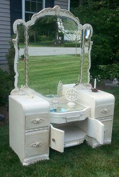 Beautiful Waterfall Style Vintage Vanity Redone by PERIWINKLES9256