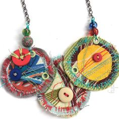 Jewelry OFF! Large OOAK Statement Art Necklace - Colorful Stitched Fabric Bib with Vintage Buttons by buttonsoupjewelry on Etsy Fiber Art Jewelry, Mixed Media Jewelry, Textile Jewelry, Fabric Jewelry, Boho Jewelry, Jewelry Shop, Custom Jewelry, Pendant Jewelry, Jewelry Crafts