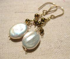 White flat oval freshwater pearl golden pyrite gemstones 14k