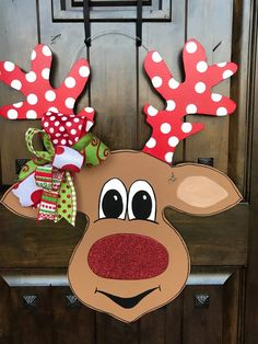 Excited to share this item from my shop: LARGE Christmas Door Hanger, Christmas Wreath, Whimsical Christmas Decor, Reindeer Door Hanger, whimsical door decor Christmas Wood Crafts, Christmas Door Decorations, Whimsical Christmas, Simple Christmas, Christmas Projects, Christmas Wreaths, Christmas Ornaments, Christmas Door Hangers, Halloween Door Hangers