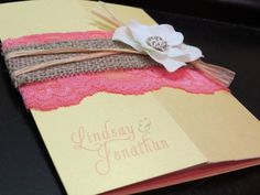 tan invitation with burlap and lace | Burlap Lace Gate Fold Wedding Invitation by peachykeenevents