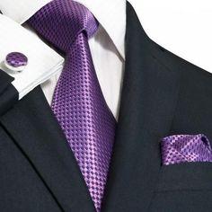 Purple and Navy Silk Necktie Set JPM1843N