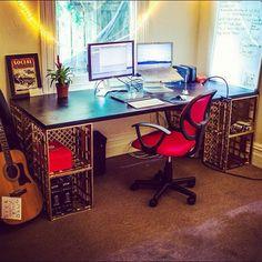 Milk crate desk - free storage!