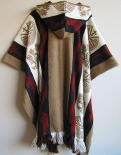 Poncho with Hood Wool Beige Red Coat Mens Cape Indigenous Native Navajo Hopi - Handmade in Ecuador Cool Outfits, Casual Outfits, Fashion Outfits, Mens Poncho, Hooded Poncho, Celtic Clothing, Hippie Style, My Style, Navajo