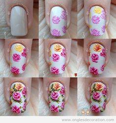 Comment dessiner des roses sur les ongles, tuto pas à pas   Décoration d'Ongles…