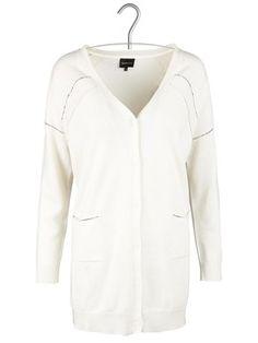 Gilet long boutonné en laine et cachemire Blanc by BERENICE