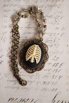 Ribcage Gothic Cameo Necklace II - Antique Brass (VaeNox)