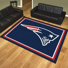 New England Patriots Home Decor Area Rug. This Patriots rug is perfect for the house or tailgating at 8' x 10'. Mat is ChromeJet printed, allowing full penetration of the color down the entire tuft of