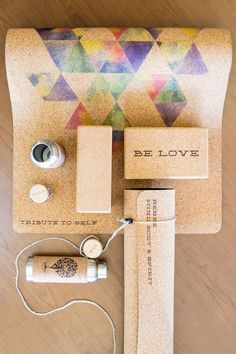 Personalized cork yoga mats and props.  Handmade with love in the USA from sustainable cork.