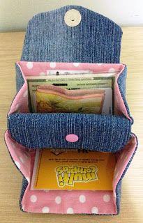 Flor de Liz Acessórios: Carteirinha Jeans