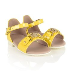 f91ac093b82d Young Versace Girls Yellow Patent Leather Sandals