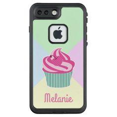 #Cute Pink Cupcake and Pastel Colors LifeProof FRĒ iPhone 7 Plus Case - #cute #pink #sweet #custom
