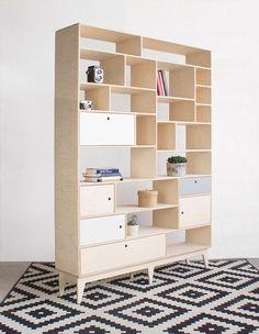 customized handmade plywood bookcase / bureau with drawers / scandinavian design // original Plywood Bookcase, Plywood Furniture, Furniture Design, Plywood Cabinets, Plywood Walls, Moving Furniture, Furniture Removal, Furniture Layout, Furniture Stores