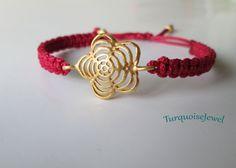 Gold flower bracelet, Macrame Bracelet in Available 4 colors, Handmade  jewelry ,macrame braid cuff bracelet, free shipping by TurquoiseJewel on Etsy