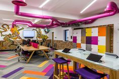 Interaction   The Castle   Castle Refurb   money.co.uk   Cirencester   Office design   Workplace   Colourful workplace
