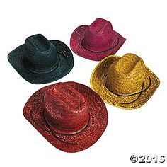 Brighten up your child's party with these straw hats! Let each cowboy and cowgirl wear one as they saddle up for fun! Perfect for a birthday party, a ...
