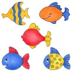Lesson for color choices with simple shapes - variety within single grouping. Drawing For Kids, Painting For Kids, Painting & Drawing, Art For Kids, Child Draw, Cartoon Fish, Under The Sea Theme, Fish Art, Cute Illustration