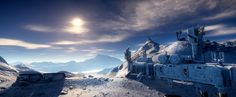 Moon Yela Afternoon - Take a rare glimpse at the afternoon sun over Yela. Water vapors from cryovolcanoes fall back onto the moon's surface, coating it in a snow-like substance.