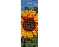 Poppies in Vase Peyote Bead Pattern Bracelet by SmartArtsSupply