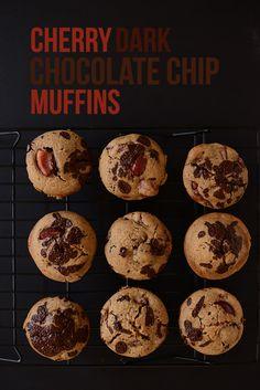 Cherry Dark Chocolate Chip Muffins! via minimalist baker #minimalistbaker