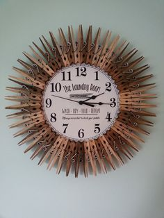 Love this!! Farmhouse Style Laundry Room Clock. Wall Decor. Clothespins. Art. Rustic