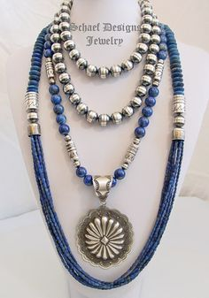 Schaef Designs lapis lazuli and sterling silver tube bead multi strand long necklaces