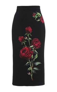 Nostalgia comes to the foreplay in this **Dolce & Gabbana** pencil skirt; its hand cut rose appliqué is a sartorial rendition of Stefano Gabbana's memories of his mother's rose-scented lipstick. Skirt Pants, Dress Skirt, High Skirts, Fitted Skirt, Skirt Outfits, Fashion Dresses, Rock, My Style, Clothes