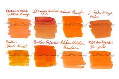 2ml samples of 8 of our most popular orange fountain pen ink colors. Includes: Caran d'Ache Electric Orange, Diamine Autumn Oak, Diamine Pumpkin, J. Herbin Orange Indien, Noodler's Apache Sunset, Noodler's Habanero, Pelikan Edelstein Mandarin, and Pilot Iroshizuku Yu-yake.