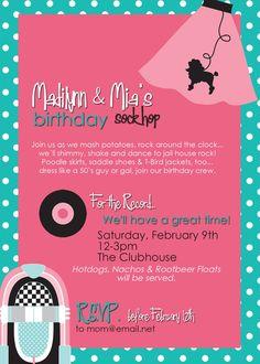 50s party invitation.