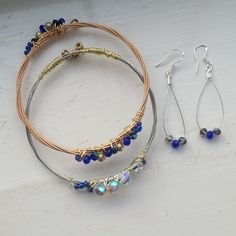 Recycled Guitar String Bangles and earrings - Blue Crystal