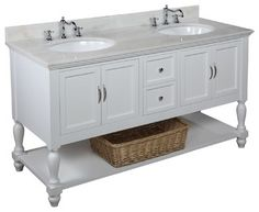 This bathroom vanity set by Kitchen Bath Collection includes a white cabinet, soft close drawers, self-closing door hinges, white marble countertop, double
