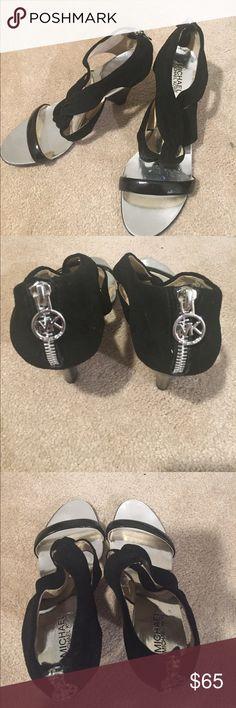 Michael Kors Black Suede Strap Shoe - 9 1/2 Michael Michael Kors Black Suede heel shoe with Michael Kors zipper back and silver charm. Size 9 1/2. Michael Kors Shoes Heels