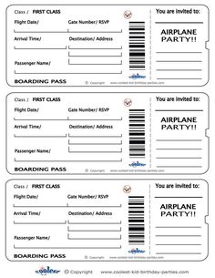 Blank Printable Airplane Boarding Pass Invitations  Coolest Free