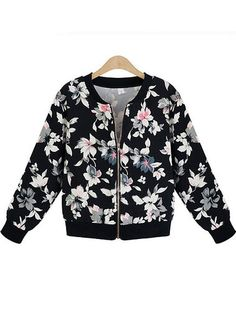 Pretty O-Neck Full Sleeve Zipper Front Floral Printing Women Leisure Coat on buytrends.com