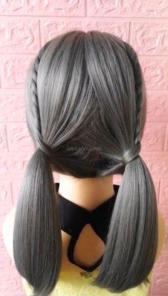 Student's Double Horsetail Hair Style - Kinderfrisuren Box Braids Hairstyles, Pretty Hairstyles, Kawaii Hairstyles, Hairstyle Ideas, Short Grunge Hair, Hair Upstyles, Little Girl Hairstyles, Hair Videos, Hair Highlights