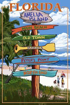 Amelia Island, Florida - Destinations Signpost - Lantern Press Poster