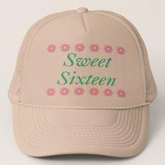 Floral Sweet Sixteen Birthday Gifts Trucker Hat