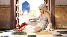 Daenerys petting Dragon by FunFictionArt