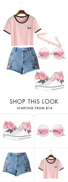 """Pink Aliens?"" by marina-hxpe ❤ liked on Polyvore featuring Converse, ZeroUV and Miss Selfridge"