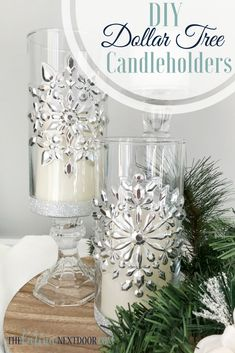 Make these elegant candleholders with items from the Dollar Tree #dollartree #diycandleholders #dollartreediy