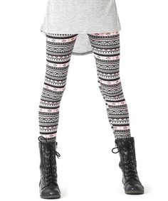 Take a look at the Pink & Black Mix Stripe Leggings - Girls on #zulily today!