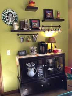 Coffee Bar.. love the hooks and baskets