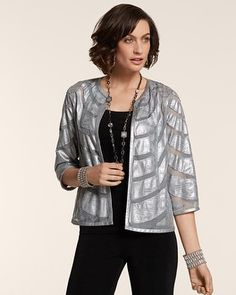 91750623853 Chico's Travelers Collection Wave Applique Margo Jacket - Looks great with  the pants, but also would be pretty over a dress for a special event.
