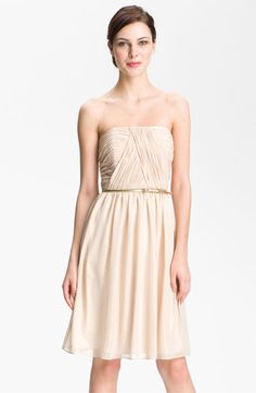 Donna Morgan Strapless Shimmer Chiffon Dress available at Nordstrom. cute idea for my bridesmaids dresses. i wish other styles came in gold! #nordstromweddings